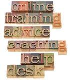 Online opleiding, het trainen en hulp Stock Fotografie