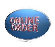 "Online order. A blue oval background with the text ""online order Royalty Free Stock Image"