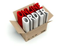 Online order cardboard box  on white. Background Stock Image