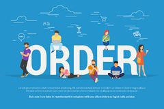 Online order concept vector illustration of people ordering and purchasing goods. Online order concept vector illustration of people ordering and purchasing Royalty Free Stock Images