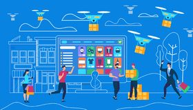 Online Order for Delivery of Goods by Drones stock illustration