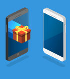 Online order. gift box on top of phone touch screen. Isometric flat 3D isolated concept  online order conceptual composition with c gift box on top of phone Royalty Free Stock Photos