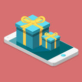 Online order. gift box on top of phone touch screen. Isometric flat 3D isolated concept  online order conceptual composition with c gift box on top of phone Royalty Free Stock Image