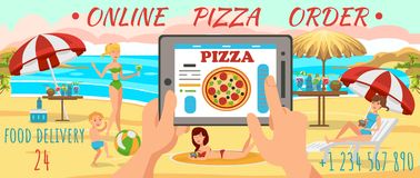 Online Order Pizza on Beach. Family on Beach. Online Order Pizza on Beach. Family is resting on Beach. Sunny Day near Sea. Active Family vacation on Beach vector illustration
