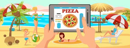 Online Order Pizza on Beach. Family on Beach. Online Order Pizza on Beach. Family is resting on Beach. Sunny Day near Sea. Active Family vacation on Beach stock illustration