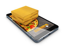 Online order pizza. Smartphone with pizza on the screen and box of pizza. 3d illustration. Online order pizza. Smartphone with pizza on the screen and box of Stock Image