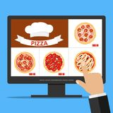 Online order pizza via the Internet. The choice of pizza on the computer. Flat design,  illustration Royalty Free Stock Images