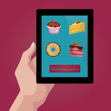 Online order sweets and cookies via internet. Stock Photos
