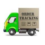 Online order tracking. Order tracking package from internet shop cardboard box delivery truck vector illustration