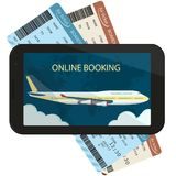 Online ordering and booking of air tickets. Vector. Online ordering and booking of air tickets, Buy Ticket On-line. Trip Booking Air-plane Flight. Flat design Stock Photo