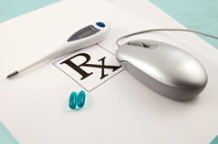 Online Ordering Of Prescription Pills Royalty Free Stock Photo