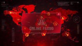 Online oszustwa ostrzeżenia ostrzeżenia atak na Parawanowym Światowej mapy pętli ruchu ilustracja wektor