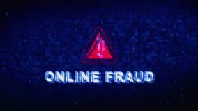 Online oszustwo teksta Cyfrowego hałasu drgania usterki wykoślawienia skutka błędu animacja ilustracja wektor