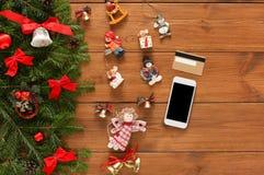 Online pagando il fondo della decorazione di natale Immagine Stock