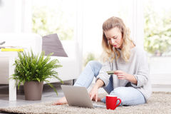 Online paying Stock Image