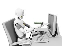 Online payment. Crash test dummie receiving money from internet in his desk over a white background Stock Photos