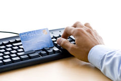 Online payment. Man is shopping and paying online Royalty Free Stock Photography