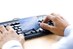 Online payment. Man is shopping and paying online Stock Photo
