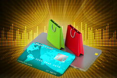 Online payment concept. In color background Royalty Free Stock Photos