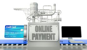 Online payment concept, computer and credit card Royalty Free Stock Photo