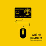 Online payment concept. Computer mouse connected to a credit card, symbol purchases and payments on the Internet. Vector illustration flat minimalism design Stock Photo