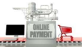 Online payment concept, computer and shopping cart Royalty Free Stock Images