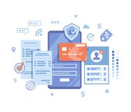 Free Online Payment Concept. Internet Payments, Data Protection, Money Transfer, Online Banking, Mobile Wallet, Pay History, Mobile App Stock Images - 153413834