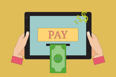 Online Payment Concept. Vector Illustration. Human Hands Holding a Tablet Computer. Online Payment.  Vector Illustration Royalty Free Stock Photography