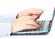 Online payment by credit card Royalty Free Stock Photos