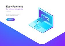 Online Payment Credit Card Laptop isometric flat v. Online Payment by Credit Card on Laptop isometric flat vector illustration. Man using bank card in notebook vector illustration