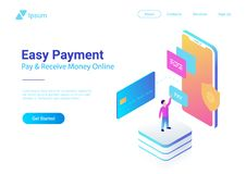 Online Payment Credit Card Smartphone isometric fl stock illustration