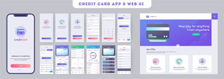 Online Payment or Credit cards app ui kit for responsive mobile app with website menu. Online Payment or Credit cards app ui kit for responsive mobile app with stock illustration