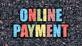 Online Payment on Dark Brick Wall. Stock Image