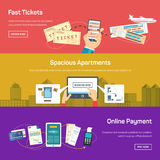 Online payment for flight tickets or apartment Royalty Free Stock Image