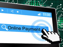 Online Payment Indicates World Wide Web And Amount Royalty Free Stock Photography