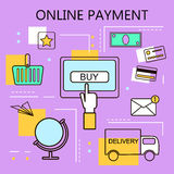 Online Payment. Internet and mobile marketing concept. For web and mobile phone services and apps.Vector Line Illustration. Stock Photos