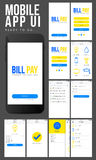 Online Payment Mobile Apps UI design. Online Payment Mobile Apps UI, UX, GUI design with Sign Up, Sign In, Bill Details, Bill Pay, Profile and History Screens Royalty Free Stock Photo
