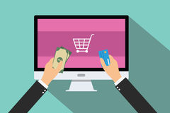 Online payment. Money credit card pc computer buying and pay stock illustration