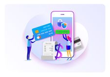 Online payment. Pay on mobile. Flat cartoon miniature. background presentation. Vector Royalty Free Stock Photo