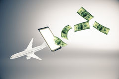 Online payment for plane tickets Royalty Free Stock Images