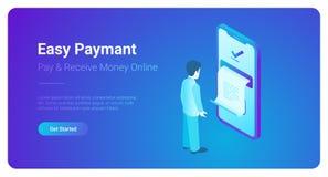 Online Payment smartphone isometric flat vector. M vector illustration