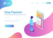 Online Payment smartphone isometric flat vector. M stock illustration