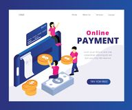 Online Payment System Through Where people are Transacting money Isometric Artwork Concept vector illustration