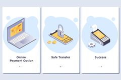 Online Payment theme.Vector Illustration of onboarding app screens and web concept stock illustration