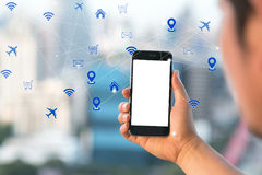 Online payment via mobile phone application through digital comm Stock Image