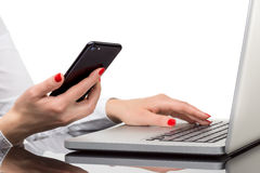 Online payment, Woman`s hands holding smart phone for online sho Stock Photo