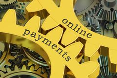 Online Payments concept on the gearwheels, 3D rendering Stock Image