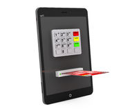 Online payments concept. Tablet PC with ATM and Credit Card Royalty Free Stock Photos
