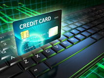 Online payments. A credit card as an on-line payment tool. Digital illustration Stock Photo