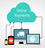 Online Payments Flat Concept Vector Illustration. R Stock Image